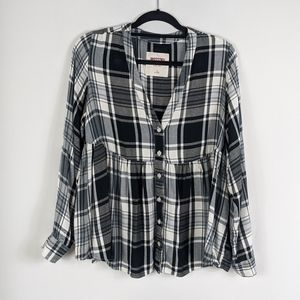 New Mossimo Plaid Button Down Long Sleeve Top